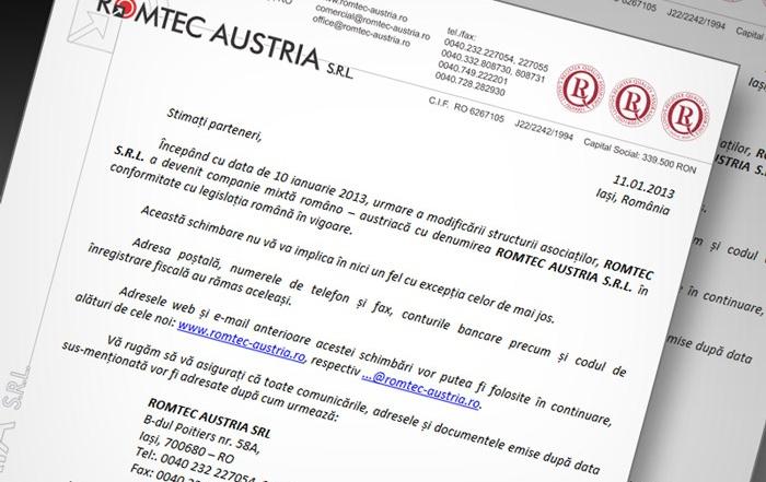 ROMTEC S.R.L. a devenit companie mixtă româno – austriacă cu denumirea ROMTEC AUSTRIA S.R.L.