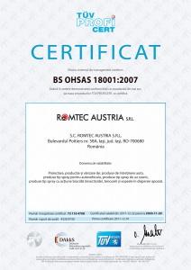 Certificat BS OHSAS, 18001:2007, TÜV Hessen