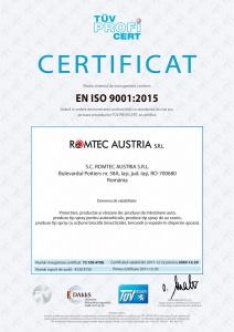 Certificat Calitate, ISO 9001:2015, TÜV Hessen