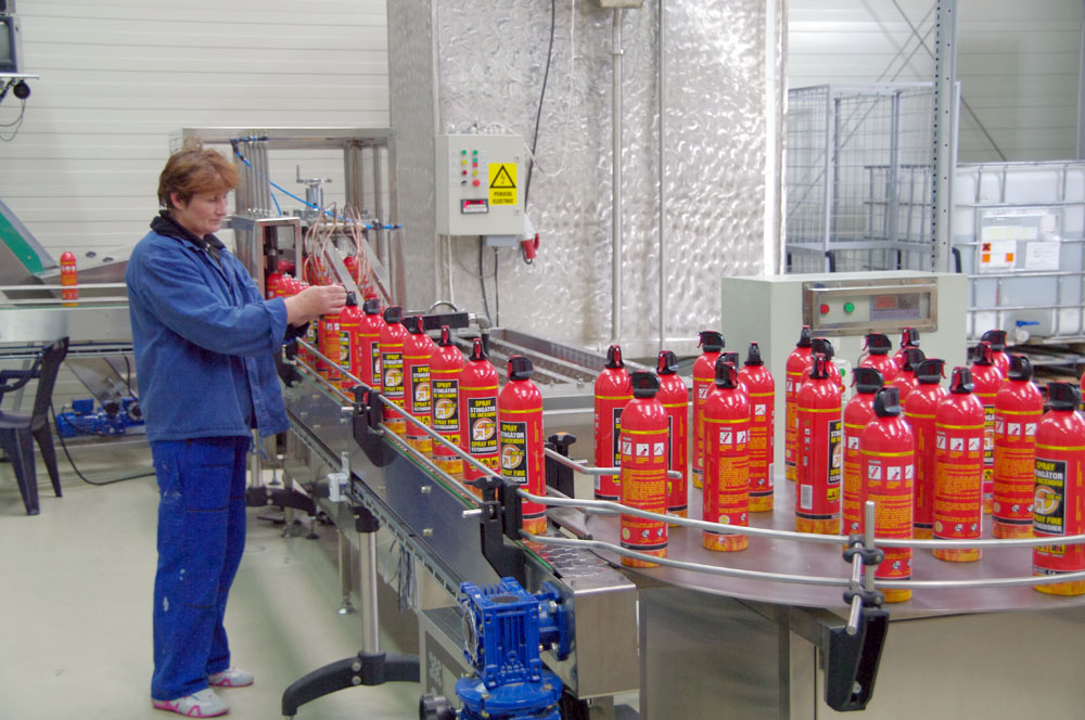The new production line for sprays filling, pressuring and wrapping.