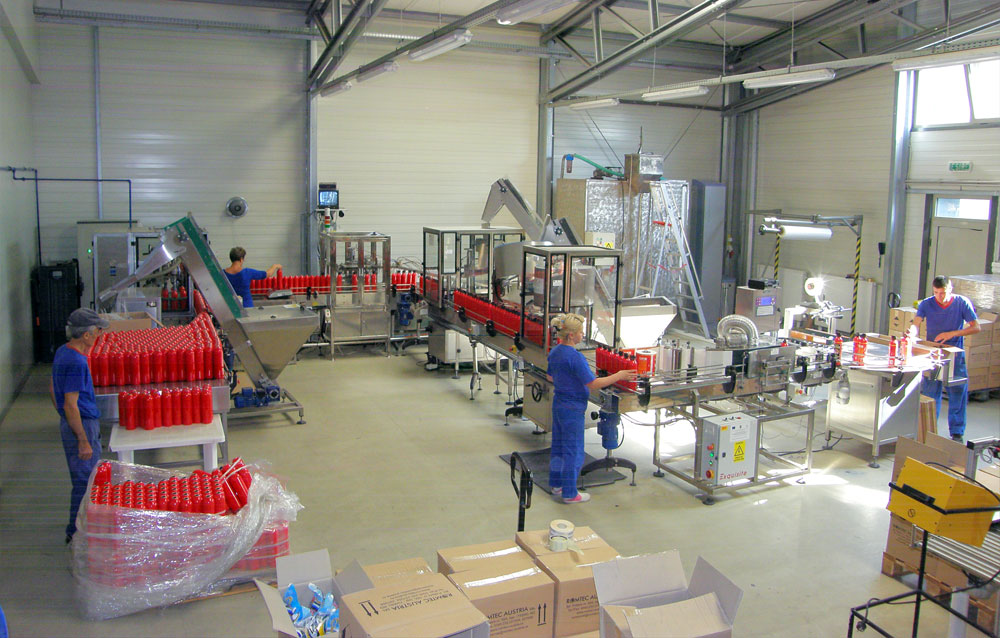 The new production line for sprays filling, pressuring and wrapping - 2007