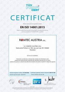 Certificat Mediu, ISO 14001:2015, TÜV Hessen