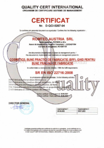 Certificate ISO 22716:2008